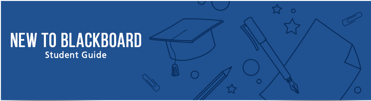 Blue banner with text New to Blackboard Student Guide