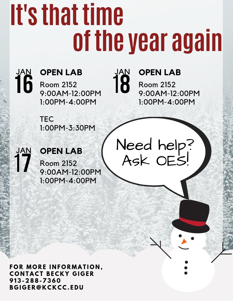 Infographics for OES Open Labs for week of January 15, with contact information of Becky Giger.